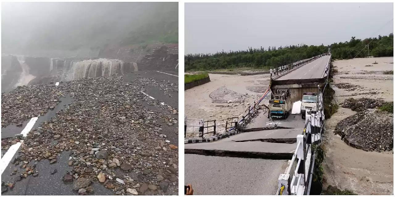 Broken roads in Uttarakhand